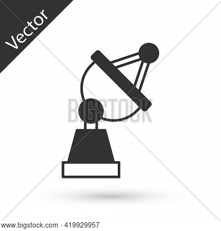 Grey Satellite Dish Icon Isolated On White Background. Radio Antenna, Astronomy And Space Research.
