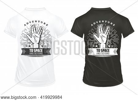 Vintage Hand Prints Template With Inscription Vulcan Salute Greet Gesture Sunburst On Black And Whit