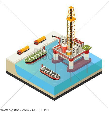 Isometric Water Oil Platform Concept With Trucks And Ships For Petroleum Transportation Isolated Vec