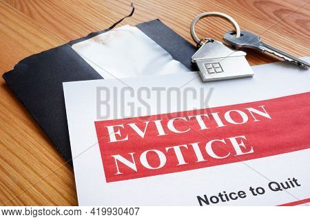 Open Envelope And Eviction Notice To Quit Papers.