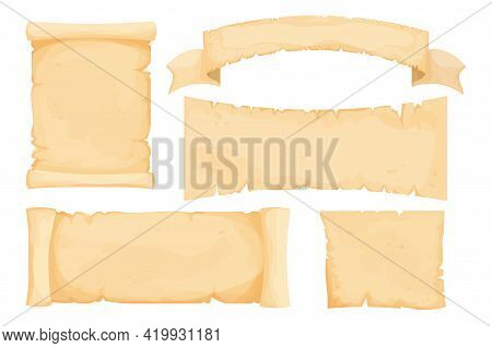 Set Parchment, Scroll Papyrus, Antique Paper Blank In Cartoon Style Isolated On White Background. Fa