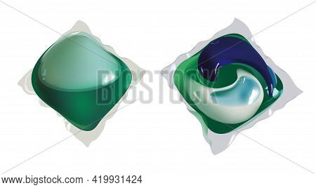 Washing Capsule Pod Isolated. Liquid Detergent. Vector Realistic