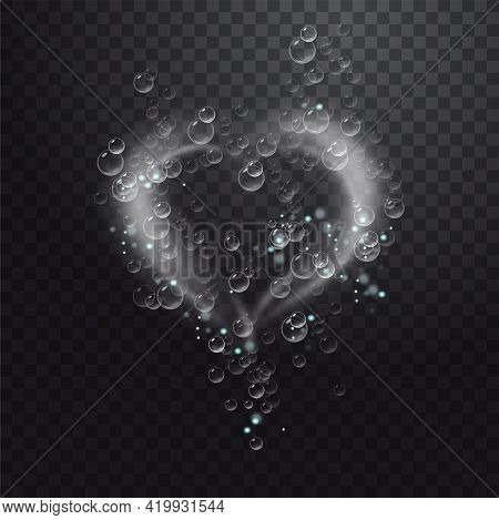 Realistic Sparkling Air Bubbles In Water. Bubbles Fizzing Under Water. Transparent Checkered Backgro