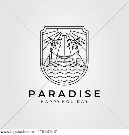 Paradise, Beach, Summer, Resort, Hammock Line Art Logo Template Vector Illustration Design