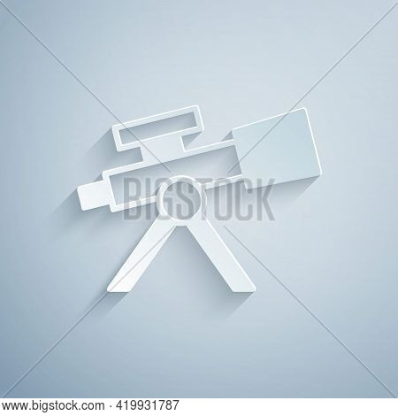 Paper Cut Telescope Icon Isolated On Grey Background. Scientific Tool. Education And Astronomy Eleme