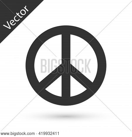 Grey Peace Icon Isolated On White Background. Hippie Symbol Of Peace. Vector