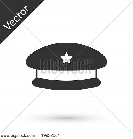 Grey Military Beret Icon Isolated On White Background. Soldiers Cap. Army Hat. War Baret. Vector