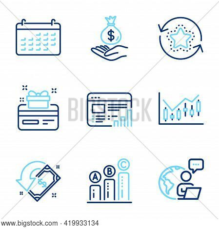 Finance Icons Set. Included Icon As Graph Chart, Calendar, Web Report Signs. Financial Diagram, Loya