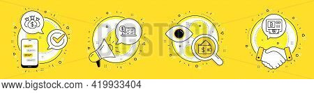 Wallet, Check Investment And Online Accounting Line Icons Set. Cell Phone, Megaphone And Deal Vector