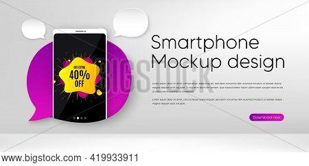 40 Percent Sale Liquid Shape Sticker. Mobile Phone Vector Mockup. Discount Banner. Sale Coupon Icon.