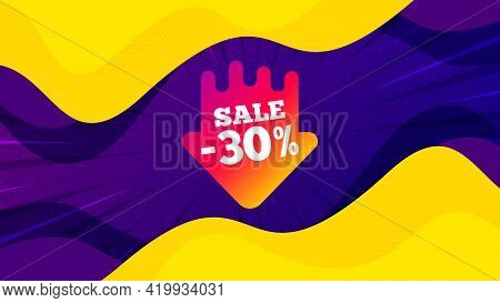 Sale 30 Percent Off Sticker. Fluid Liquid Background With Offer Message. Discount Banner Shape. Coup