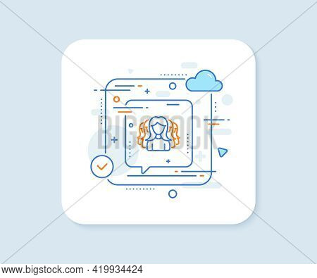Group Of Women Line Icon. Abstract Vector Button. Human Communication Symbol. Teamwork Sign. Women G