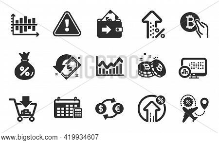 Bitcoin Pay, Wallet And Report Statistics Icons Simple Set. Calendar, Flight Sale And Currency Excha