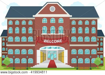 Welcome To High School. University Study, Architecture Construction Building, Exterior And Front, Ve