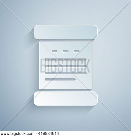 Paper Cut Declaration Of Independence Icon Isolated On Grey Background. Paper Art Style. Vector