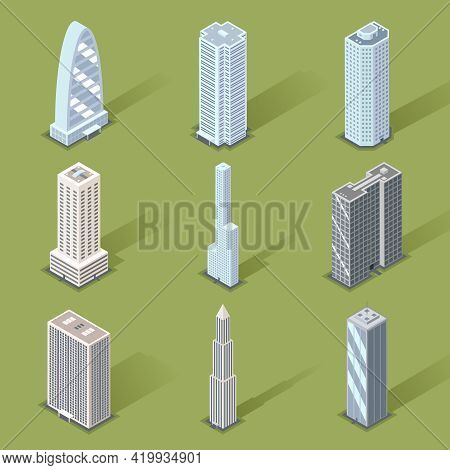 Assorted Three Dimensional Skyscraper Graphic Designs On Light Green Background.