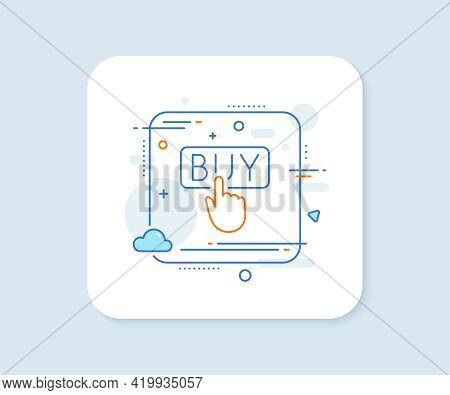 Click To Buy Line Icon. Abstract Square Vector Button. Online Shopping Sign. E-commerce Processing S