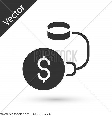 Grey Debt Ball Chained To Dollar Coin Icon Isolated On White Background. Big Heavy Debt Weight With