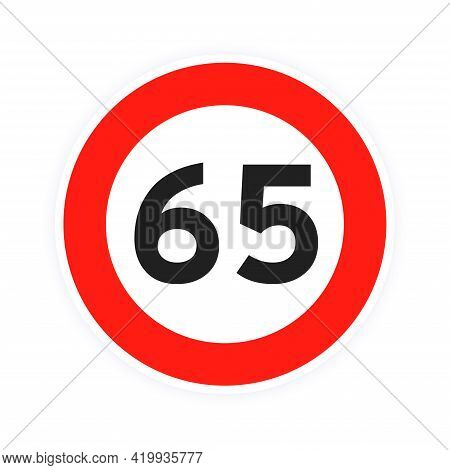 Speed Limit 65 Round Road Traffic Icon Sign Flat Style Design Vector Illustration Isolated On White