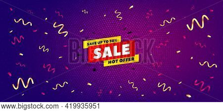 Sale 50 Percent Off Banner. Festive Confetti Background With Offer Message. Discount Sticker Shape.