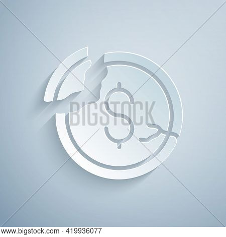 Paper Cut Dollar Rate Decrease Icon Isolated On Grey Background. Cost Reduction. Money Symbol With D