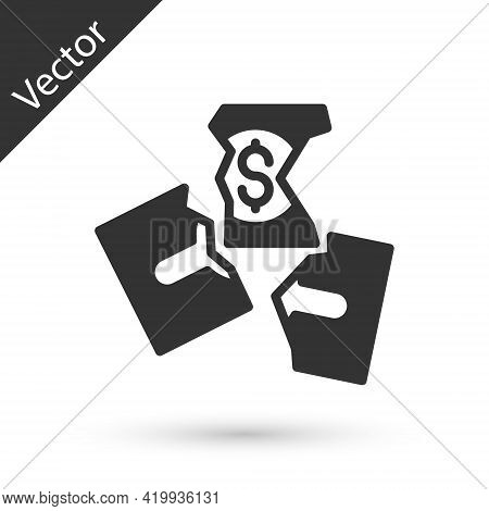 Grey Tearing Apart Money Banknote Into Three Peaces Icon Isolated On White Background. Vector