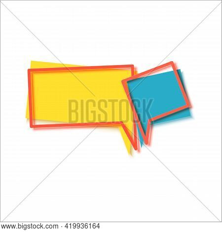 Two Speech Bubbles And Red Frames In Flat. Memphis Style Banner With Abstract Geometric Shapes. Colo