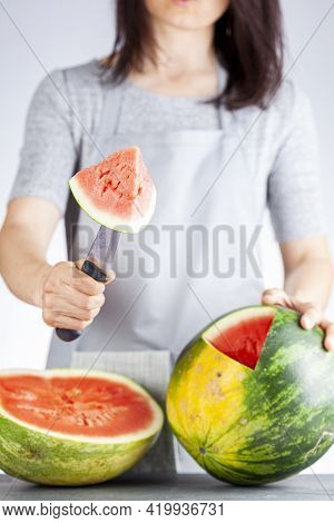 A Young Caucasian Woman Is Cutting A Wedge Out Of A Ripe Watermelon Using A Knife. Melon Is Ripe Wit