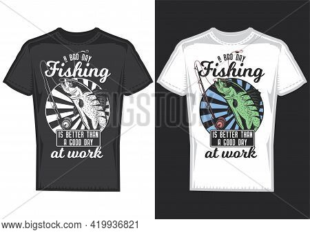 T-shirt Design Samples With Illustration Of A Fish And A Fishing Rod.