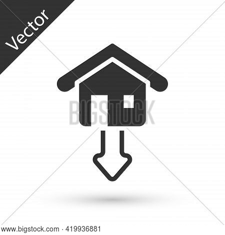 Grey Property And Housing Market Collapse Icon Isolated On White Background. Falling Property Prices
