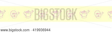 Edging, Ribbon, Border With Outline Fwatering Cans. Vector Seamless Pattern, Ornament, Decorative El