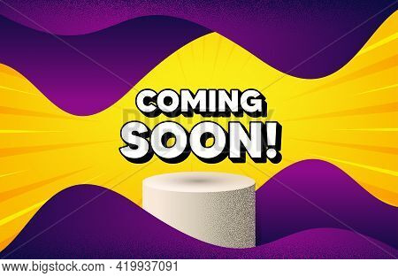 Coming Soon. Abstract Background With Podium Platform. Promotion Banner Sign. New Product Release Sy