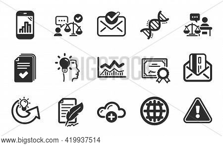 Credit Card, Certificate And Share Idea Icons Simple Set. Chemistry Dna, Court Judge And Cloud Compu