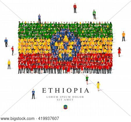A Large Group Of People Are Standing In Green, Yellow, Blue And Red Robes, Symbolizing The Flag Of E