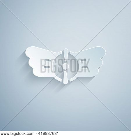 Paper Cut Aviation Emblem Icon Isolated On Grey Background. Military And Civil Aviation Icons. Flyin