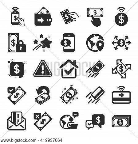 Payment Wallet Icons. Set Of Accept Money Transfer, Pay With Phone And Credit Card By Mail Icons. On