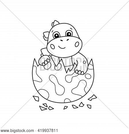 Cute Little Dinosaur Hatches From An Egg. Dino For Kid Coloring Book. Baby Stegosaurus. Children Puz