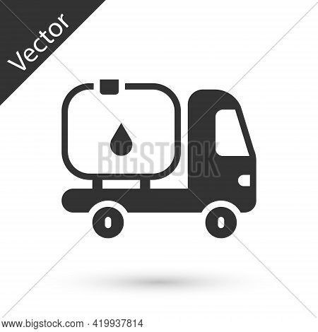 Grey Fuel Tanker Truck Icon Isolated On White Background. Gasoline Tanker. Vector