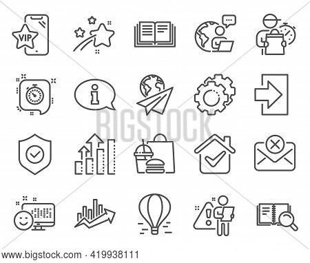 Technology Icons Set. Included Icon As Air Balloon, Settings Gears, Login Signs. Education, Smile, V