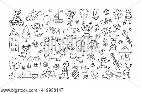 A Set Of Children Drawings. Kid Doodle. Children Playing And Jumping, Painted Houses, Unicorn, Cute