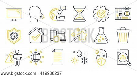 Set Of Science Icons, Such As File, Motherboard, Monitor Symbols. International Globe, Recovery Devi