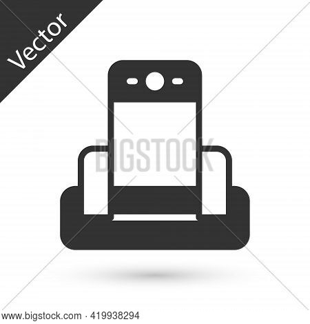 Grey Metal Detector In Airport Icon Isolated On White Background. Airport Security Guard On Metal De