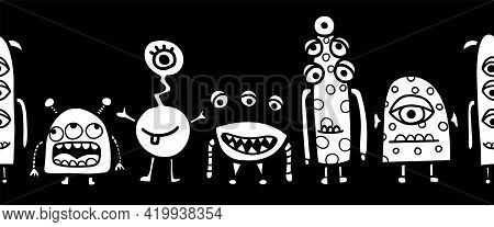 Seamless Monster Coloring Kids Border Vector. Repeating Cute Aliens And Monsters Horizontal Repeatin