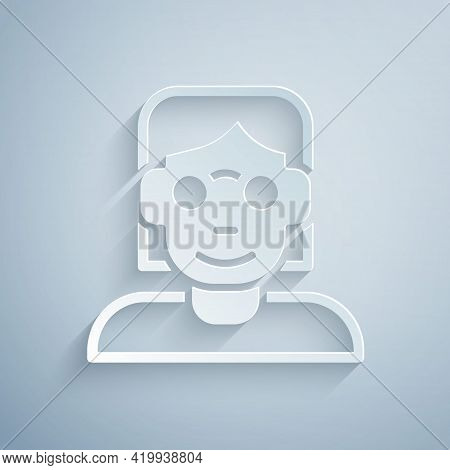 Paper Cut Hacker Or Coder Icon Isolated On Grey Background. Programmer Developer Working On Code, Co