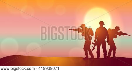Silhouette Of A Soldiers Against The Sunrise. Concept - Protection, Patriotism, Honor. Armed Forces