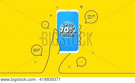 Up To 70 Percent Discount. Hand Hold Phone. Yellow Banner With Continuous Line. Sale Offer Price Sig