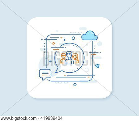 Group Line Icon. Abstract Square Vector Button. Users Or Teamwork Sign. Male And Female Person Silho