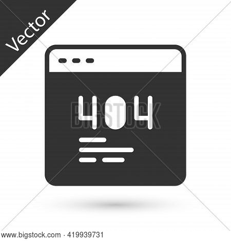 Grey Page With A 404 Error Icon Isolated On White Background. Template Reports That The Page Is Not
