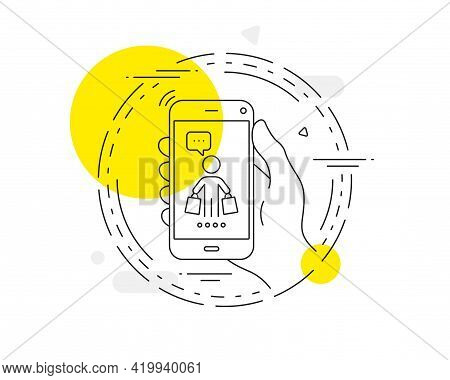 Buyer With Shopping Bags Line Icon. Mobile Phone Vector Button. Customer Sign. Supermarket Client Sy
