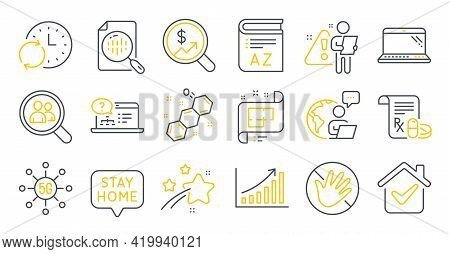 Set Of Science Icons, Such As Laptop, Currency Audit, 5g Technology Symbols. Online Help, Graph Char